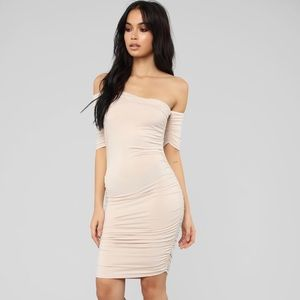 Rouched Nude Dress NEW w tags